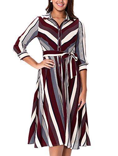 New Noctflos Women's Striped Midi Work Dress With 2/3 Sleeves Belt Button Down online. Enjoy the absolute best in GRACE KARIN Dresses from top store. Sku vzbv25590jrnw90911