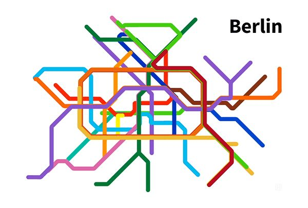 Berlin Subway Map compared to it's real geography