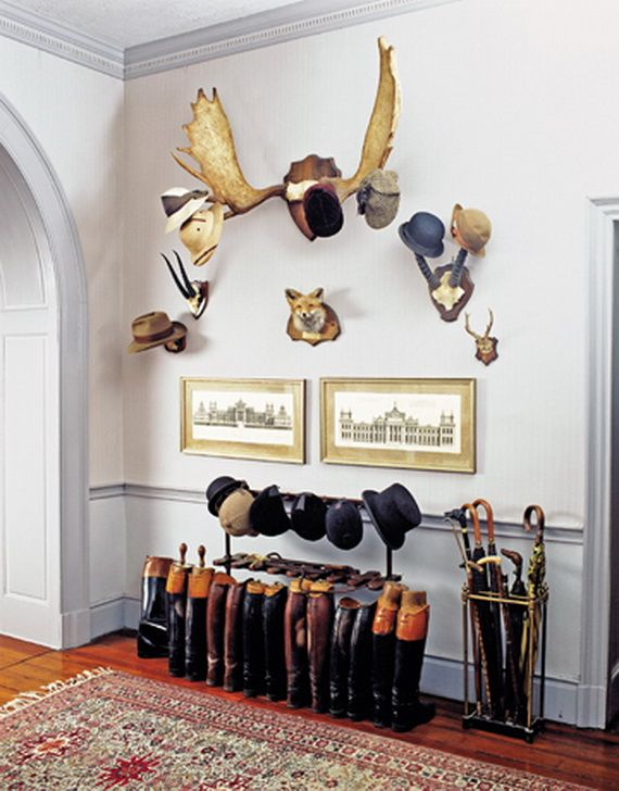 Love the hat rack, but maybe faux animal heads/skulls instead? Maybe mythical animals or made of Legos? Modern Mudroom And Hallway Storage Ideas