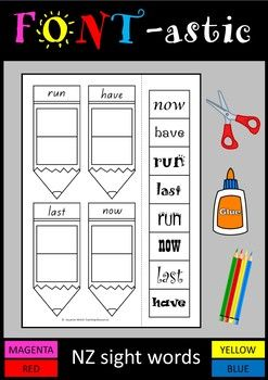 A total of 40 activity sheets for words at the Magenta, Red, Yellow and Blue levels of the NZ colour wheel.These activity sheets focus on reading and matching sight words that are written in different fonts.  The fonts get more difficult to read as the levels progress.