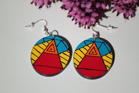 Aztec pattern hand-painted wooden earrings. by DeaJewelryStore
