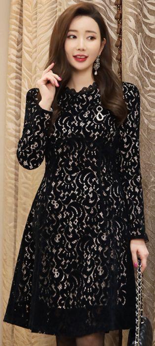 StyleOnme_Romantic Velvet Lace Flared Dress #black #lace #dress #koreanfashion #kstyle #kfashion #feminine #partylook