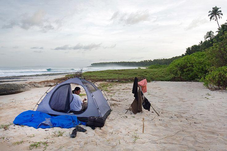 Camping on Lasambo Beach on the west-coast of North Nias Regency. Nias Island, Indonesia. Photo by Bjorn Svensson. www.northniastourism.com