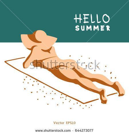 Beautiful woman in bikini lies on sandy beach on sunny day. Vector illustration.