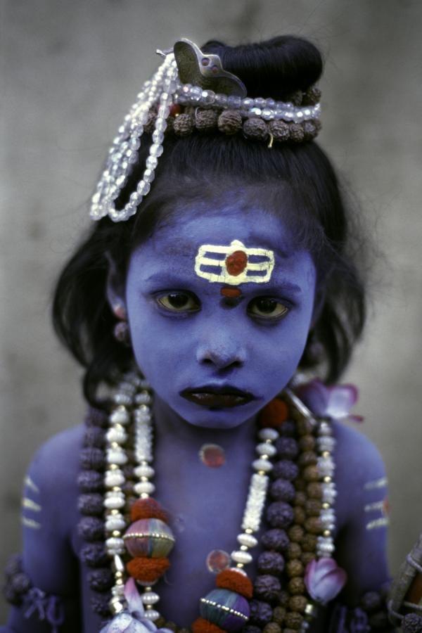 Girl in Haridwar India Celebrating Janmashtami.