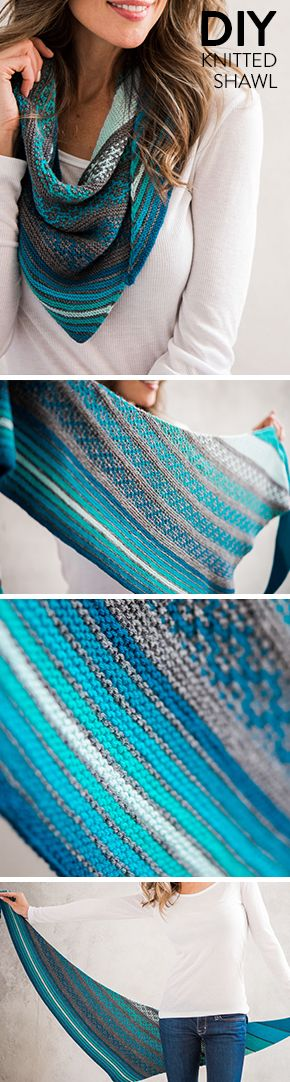One of our favorite shawl projects. The Malini knitting kit features beautiful gradient colors to give your outfit that extra pop!