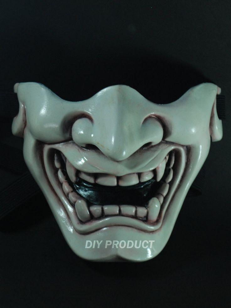 Ivory Kabuki Warrior Paintball mask / Prop Mask Handmade in Thailand ( Half Cover)