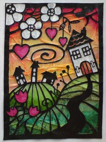 Super cute ATC House on the hill! Papercut layered over watercoloured tissue paper and foiled paper. Made by Emma.