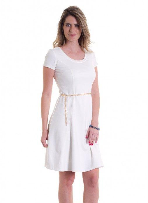 Vestido manga curta c/ cinto de corrente