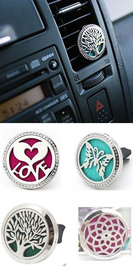 LOVE these! Such beautiful essential oil CAR DIFFUSERS! Simply add a couple drops of essential oil to the felt pad and attach the clip to your car's air vent. Air flows through the clip and is diffused throughout the car. Simple and effective. Plus they'r