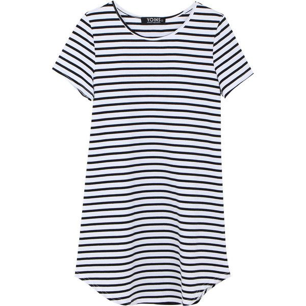Yoins Striped Dress ($14) ❤ liked on Polyvore featuring dresses, black, summer…