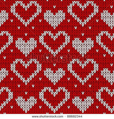 Red knitted background with hearts. Vector illustration. - stock vector