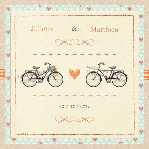 Modèle «Bikes in Love» | Faire-part de Mariage sur le thème des Vélos Couleurs Orange / Bleu ciel / Beige