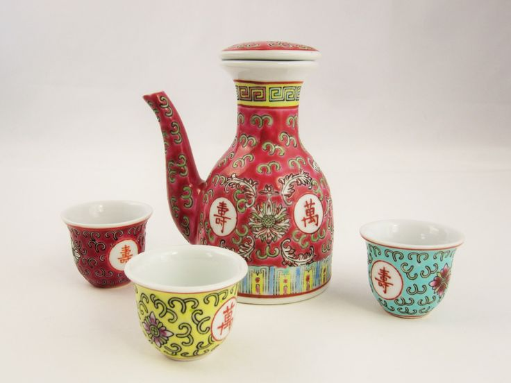 Group of 'Familie Rose' - Small Tea Pot and Three Cups - Cloisonne on Porcelain - Chinese Marks Meaning 'Longevity' on Reverse  - Collect by VintagePottery on Etsy