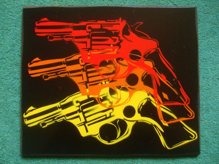 warhol pop guns custom painting,stencils & spray paints,pop art,colourful,triple,design,hand cut, hand made,home, living,canvas,american by AbstractGraffitiShop on Etsy