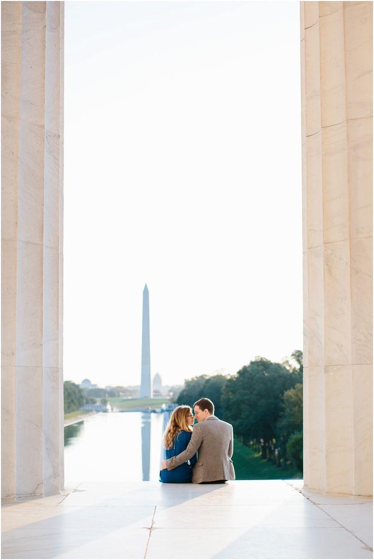 Sunrise Engagement session on the National Mall in Washington, DC. Photo by Sarah Bradshaw.  #DCEngagement #DCphotographer #SarahBradshawPhotography