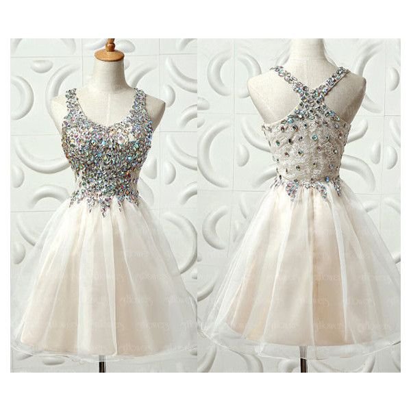 homecoming dress, beaded prom dress, Short cocktail dress, rhinestone... (€125) ❤ liked on Polyvore
