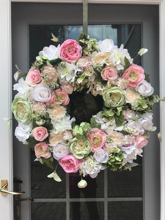 Elegant Floral Wreath House Beautiful Front Door Home Decor Wreath Classic And Timeless This Floral Door Wreaths Spring Front Door Wreaths Flower Diy Crafts