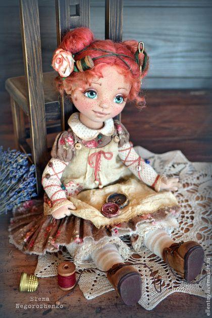 Фея Пуговка, текстильная кукла - коричневый,рыжий,кофейный,авторская кукла ♡