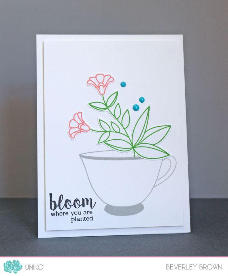 Uniko Sponsor's the Spring 2017 Coffee Lovers Blog Hop. Uniko Originally Organic & I LOVE Tea clear stamp sets. Card by Designer & Owner Beverley Brown.