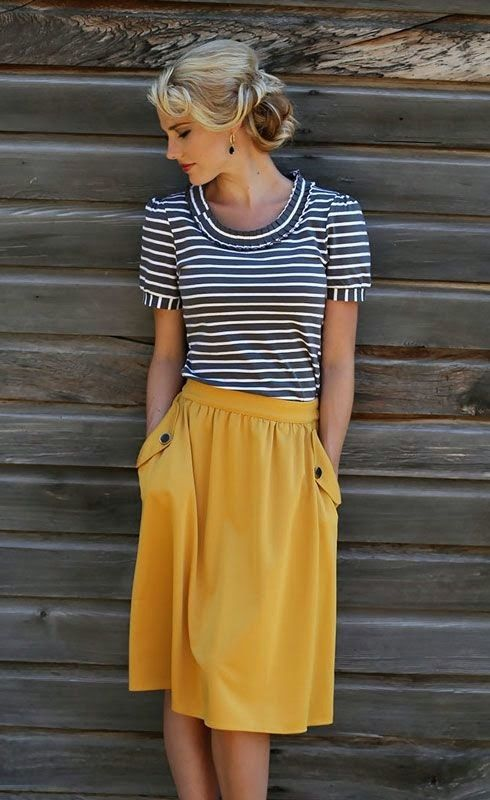Women's fashion | Chic striped top, mustard pocketed skirt