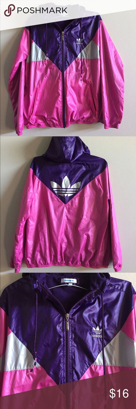 Women's Lightweight Adidas Jacket Size Large This adorable bright pink, purple and grey Adidas zip-up windbreaker is super stylish and in excellent condition. It features a large hood, two size pockets and super and comfortable material. Size Large, 100% polyester. adidas Jackets & Coats