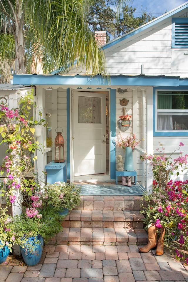 Aqua & White cottage entryway