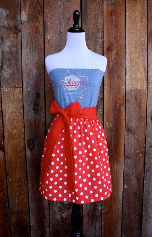 Texas Rangers Baseball Strapless Game Day Dress  LOVE the bow!