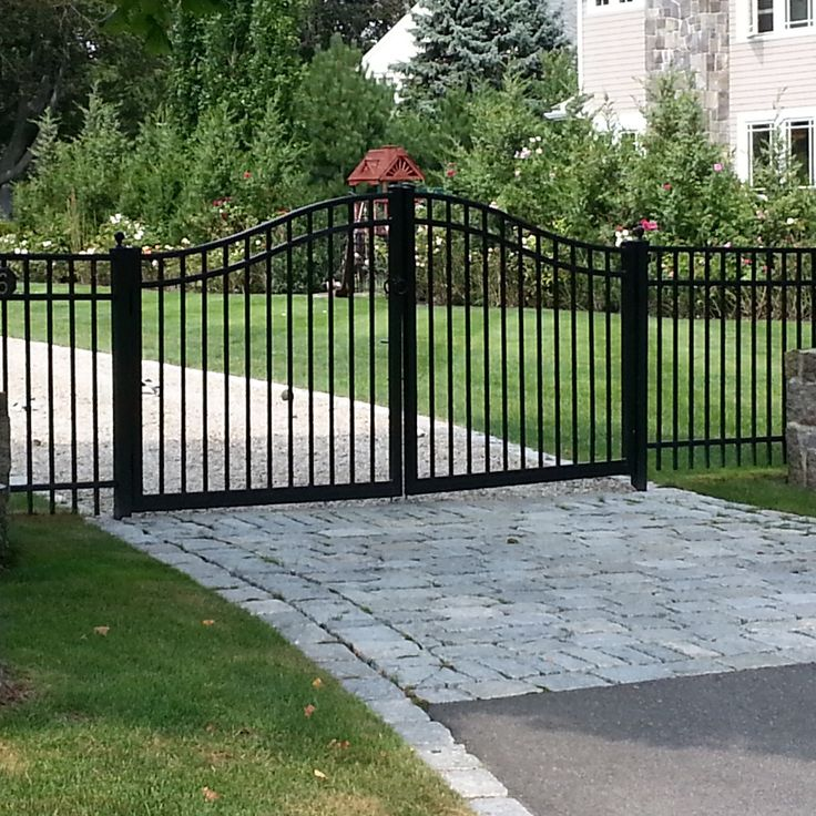 Driveway gate in marblehead ma wrought iron and aluminun