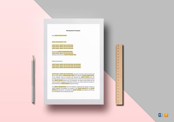 Meeting Memo Template  $12  Formats Included : MS Word, Pages File Size : 8.27x11.69 Inchs, 8.5x11 Inchs #MeetingMemo #Documents #Documentdesigns #Memodesigns #MemoTemplates