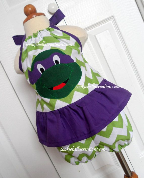 Ninja Turtles Donatello Chevron Pillowcase outfit with halter top bubble shorts/romper/sunsuit. Perfect for a birthday party!