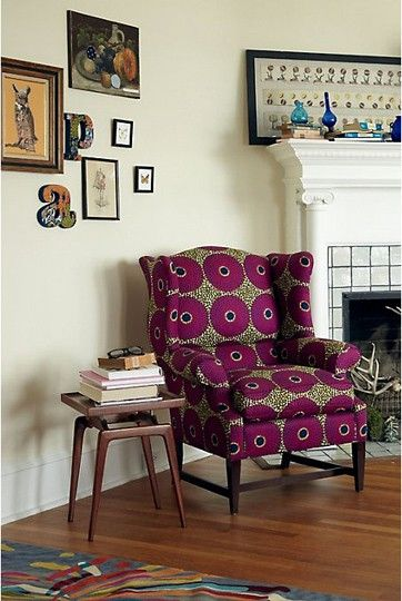 I'm a sucker for a classic wingback upholstered in a modern fabric!!