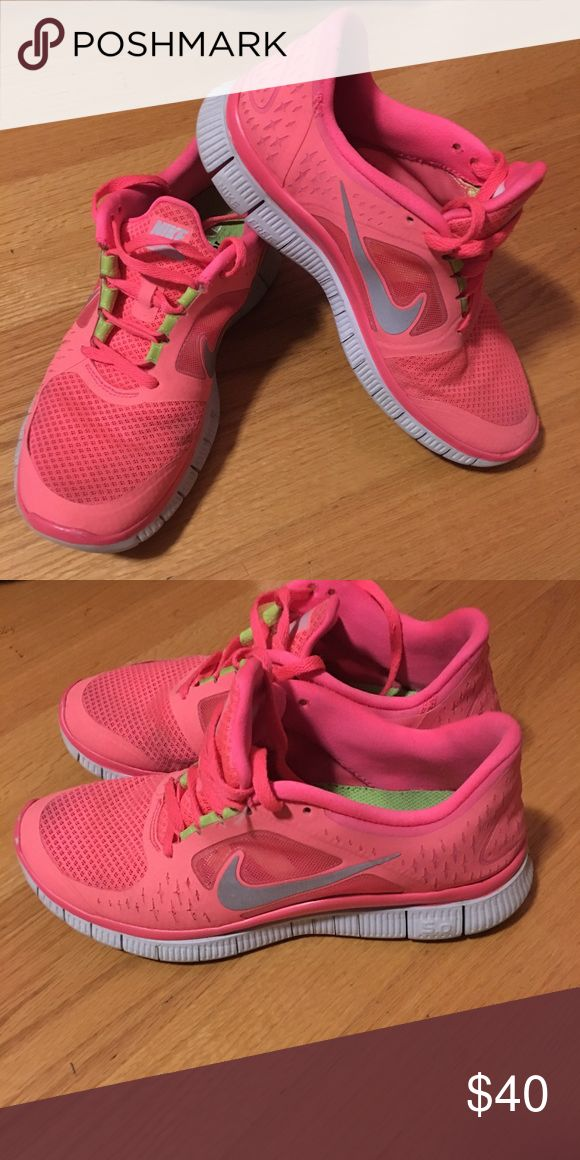 SOLD.  Nike Free Run 3 sz 8.5 Gently Used Super cute highlighter pink Nike Free Run 3 sz 8.5 Gently used!! Nike Shoes Athletic Shoes