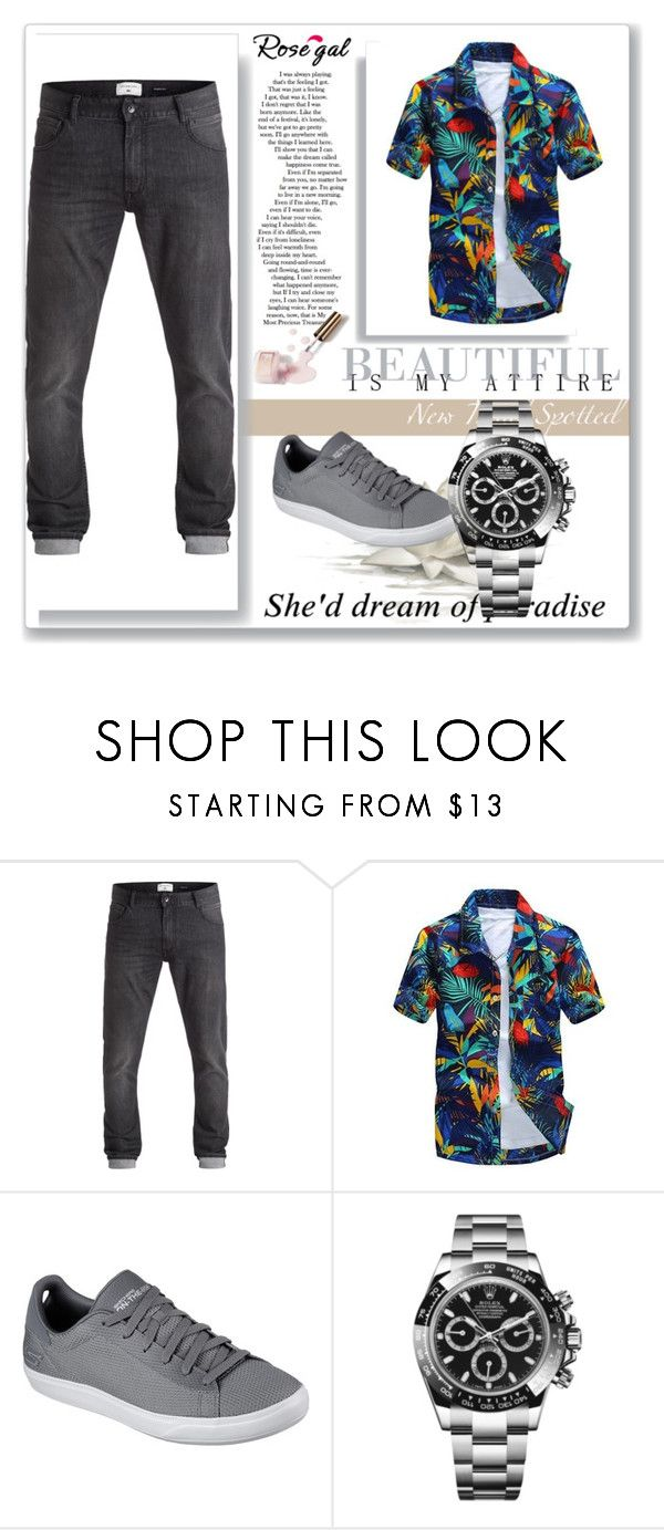 """all over print shirt men"" by belma-bella ❤ liked on Polyvore featuring Skechers, Rolex, 7 For All Mankind, Ciaté, men's fashion and menswear"