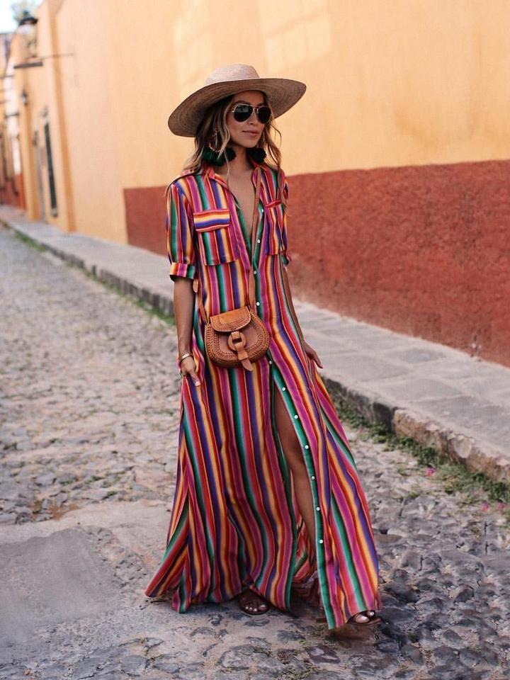 3cc338b1fcf Bohemia Striped Shirt Maxi Dress RAINBOW L. Bohemia Striped Shirt Maxi  Dress RAINBOW L Boho Dress Plus Size ...