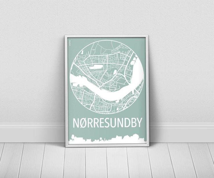 Køb byplakater over Nørresundby i 9 farvekombinationer