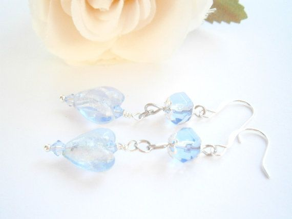 Blue Heart Earrings  Light blue Dangle earring by GlamorousSparkle, €10.00