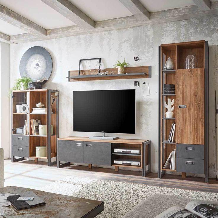 TV Anbauwand In Eiche Dunkel Schiefer Grau 360 Cm 4 Teilig Jetzt Bestellen Unter Moebelladendirektde Wohnzimmer Tv Hifi Moebel Waende Uid