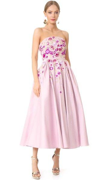 Marchesa Notte Вечернее платье без бретелек
