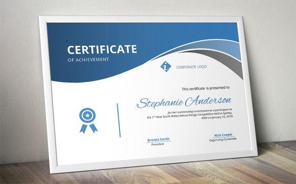Elegant curve certificate template @creativework247