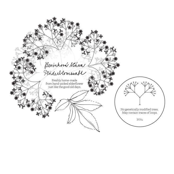 bottle label / elderflower syrup / Nikola Malenová / tabletters