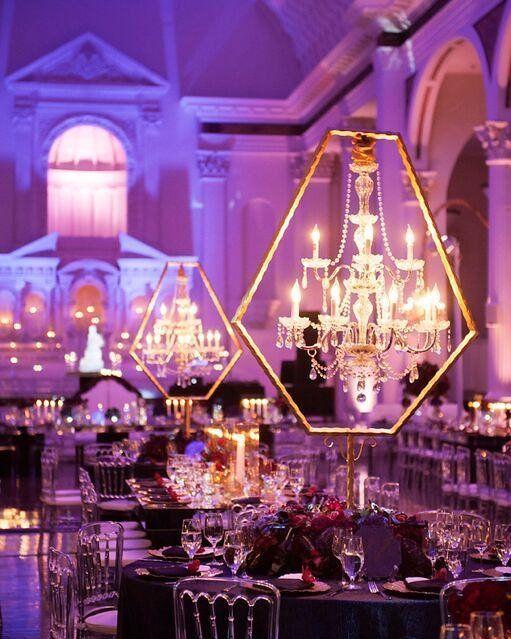 Love these chandelier centerpieces!