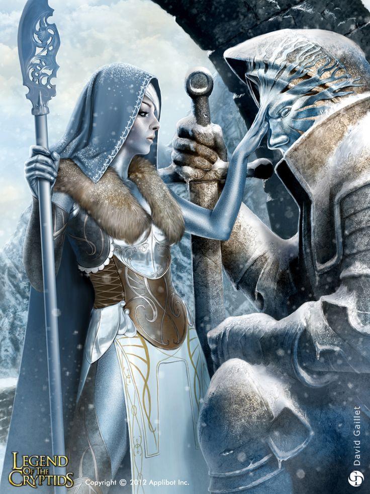 ヨツンを従える霜の乙女:霜の乙女は長い旅の果てに、廃墟となった城で一体の巨人の石像を見つけた。それこそが、探し求めていたヨツンだった。そっと額に触れ、霜を与え、氷の命を吹き込む。伝説の巨人ヨツンに今一度、立ち上がって欲しいと祈りを込めて。