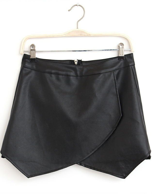 Black Zipper Asymmetrical PU Leather Shorts - Sheinside.com