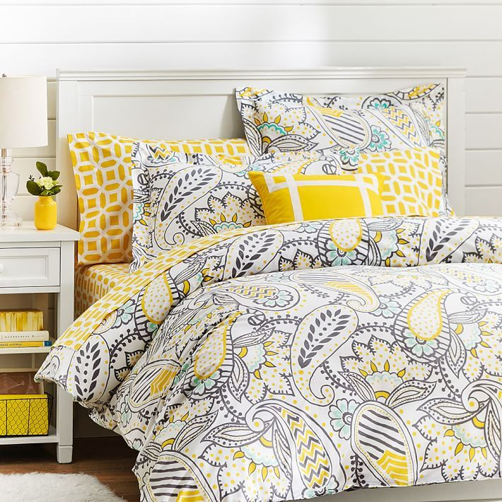 mellow yellow bedding? looks pretty bright to us!
