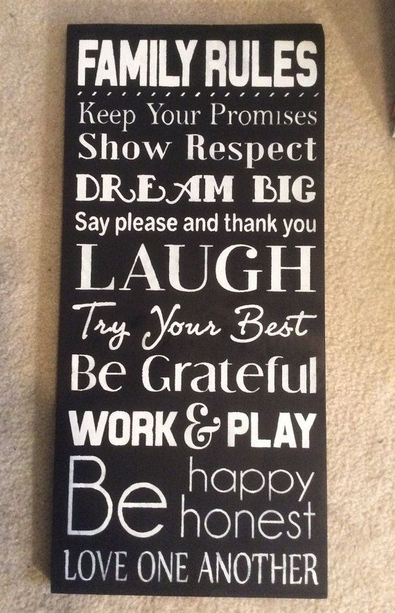 Family rules - Family rules sign - Subway art - Typography - Home decor - Family sign - Wood sign - House rules sign - Christmas gift ideas
