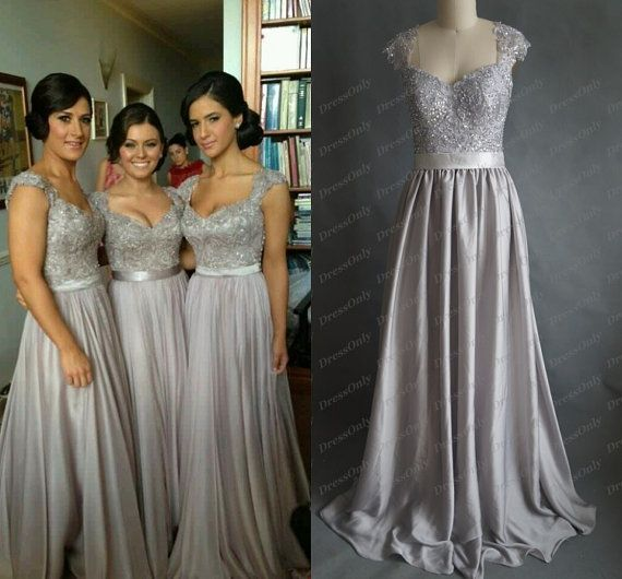 New Silver Grey Bridesmaid Dress Scoop Lace Prom Dresses A Line Long Sheer Backless Wedding Party Dress Women Maxi Formal Gowns Handmade