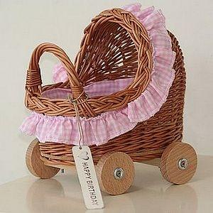 Mini Pink Wicker Pram - shop by room