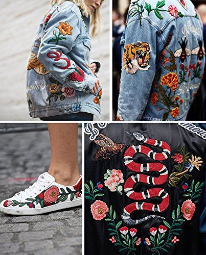 "e65dc6780a4 🐝Designer ""Gucci"" Snake Bees Roses Tiger Patches on... -Denim ..."