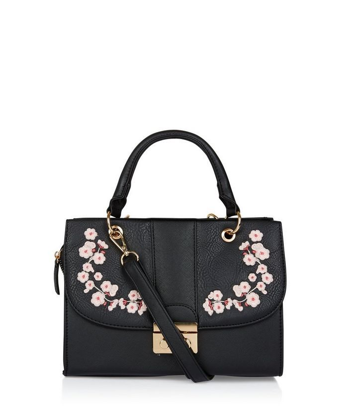 Black Floral Embroidered Hand Bag | New Look